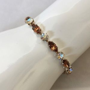 Weiss Vintage Smoky and Clear Rhinestones Bracelet